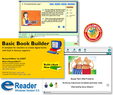 Three images of Basic Book Builder software screen pages and two logos.
